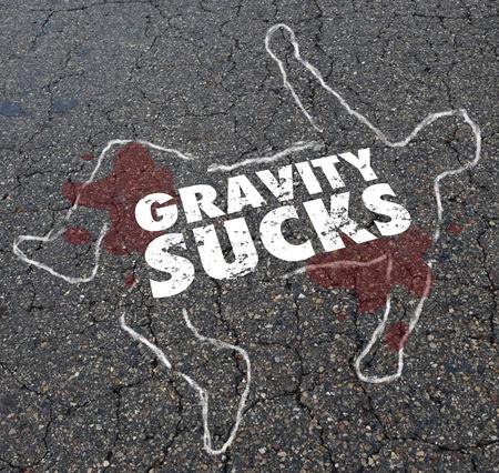 Gravity Sucks Dead Jumper Body Chalk Outline Illustration Banco de Imagens