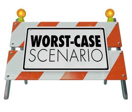 Worst-Case Scenario Bad Outcome Barricade Sign 3d Illustration Stok Fotoğraf