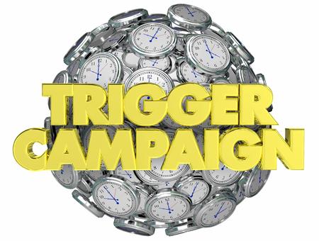 Trigger Campaign Marketing Clocks Customer Response 3d Illustration