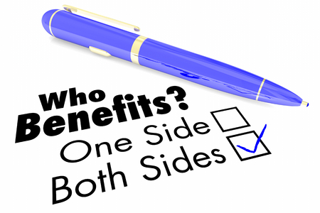 Who Benefits One or Both Sides Mutually Beneficial 3d Illustration Stock Photo