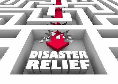 Disaster Relief Maze Arrow Recovery Help Assistance 3d Illustration Foto de archivo