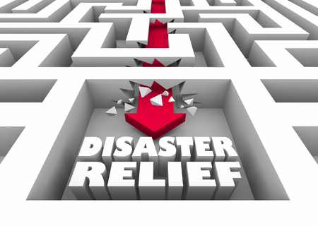 Disaster Relief Maze Arrow Recovery Help Assistance 3d Illustration Stockfoto