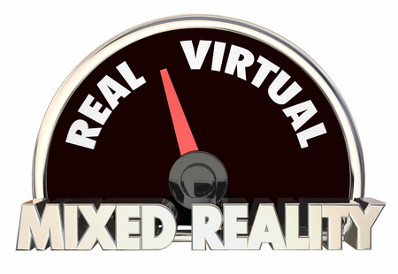 Mixed Reality Level Speedometer Real Virtual Worlds 3d Illustration Stock Photo