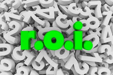 ROI Return on Investment Effects Results Spending 3d Illustration Banco de Imagens