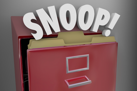 Snoop Spy Intrusion into Records Archives Files 3d Illustration