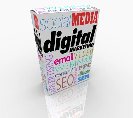 Digital Marketing Product Box Advertising Promotion 3d Illustration Stock Photo