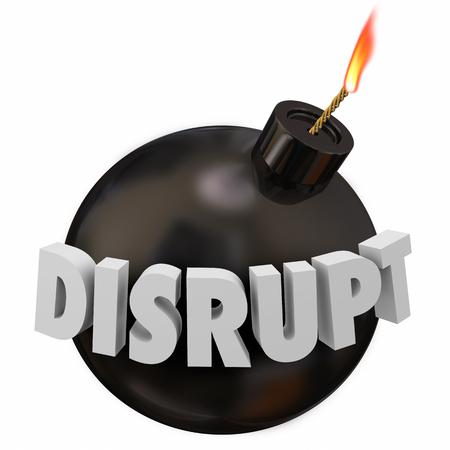 Disrupt Bomb Big Change Innovation Disruption 3d Illustration