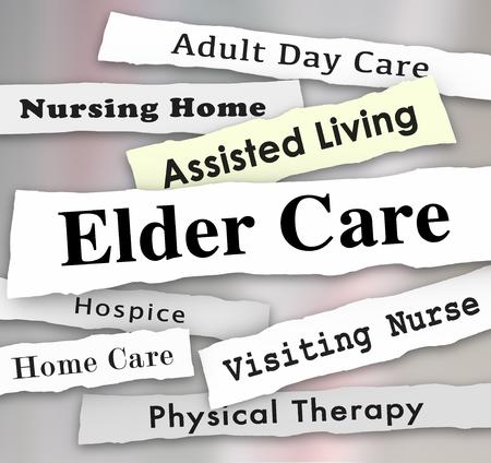 Elder Care Assisted Living Nursing Home Hospice Headlines 3d Illustration Stock Photo