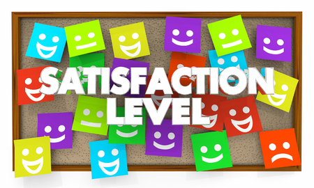Satisfaction Level Happy Sad Faces Sticky Notes 3d Illustration