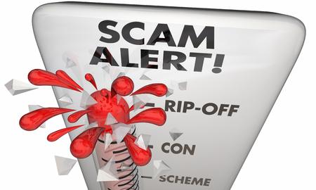 Scam Alert Scheme Ripoff Warning Level 3d Illustration