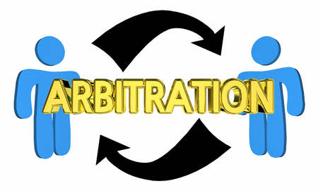Arbitration Two People Negotiate Judgment Agreement 3d Illustration Stock Photo