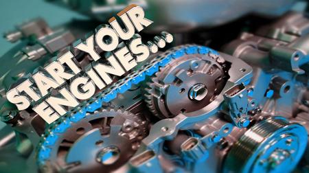 エンジンの準備を始める 3D イラストレーションを開始する