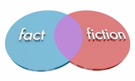 Fact Vs Fiction 2 Circles Venn Diagram Lies Truth 3d Illustration Banque d'images - 98729515