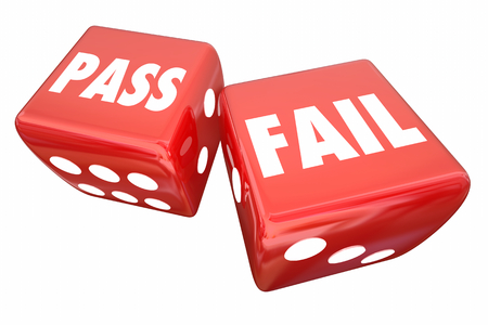 Pass Fail 2 Rolling Dice Take Chance Test Exam 3d Illustration