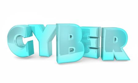 Cyber Digital Word Letters Online Internet Based 3d Illustration Banco de Imagens