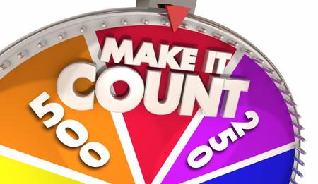 Make It Count Spinning Game Show Wheel Winner 3d Illustration Banco de Imagens - 98729579