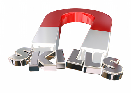 Skills Talents Expertise Magnet Letters Word 3d Illustration 免版税图像