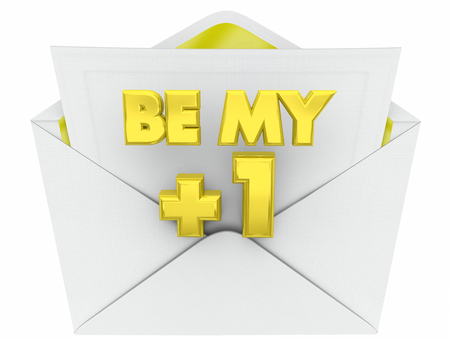 Be My Plus One Invitation Envelope Guest 3d Illustration