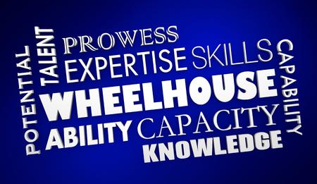 Wheelhouse Capabilities Skills Talents Potential Word Collage 3d Illustration