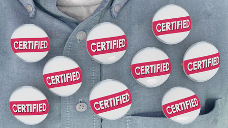 Certified Pins Buttons Shirt Certification Licensed 3d Illustration Standard-Bild