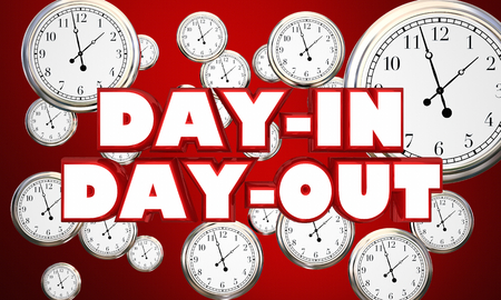 Day-in Day-Out Clocks Routine Same Time 3d Illustration Banque d'images - 98729603