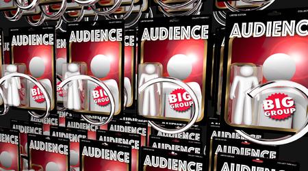 Audience People Vending Machine Big Group Crowd 3d Illustration