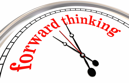 Forward Thinking Clock Ahead of Time Planning 3d Illustration