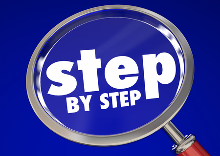 Step by Step Magnifying Glass One Instruction at Time 3d Illustration