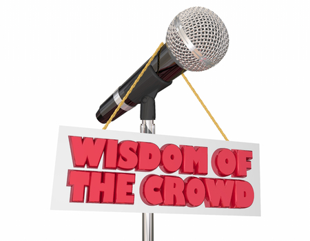 Wisdom of the Crowd Microphone Words Sign 3d Illustration