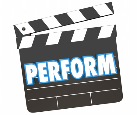 Perform Act Movie Film Clapper Board Word 3d Illustration