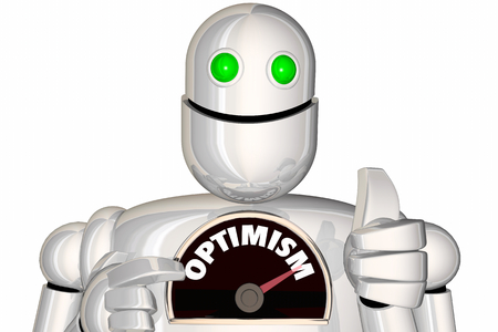 Optimism Robot Level Speedometer Positive Attitude 3d Illustration