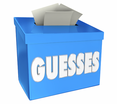 Guesses Estimates Speculation Suggestion Collection Box 3d Illustration Stock Photo