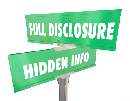 Full Disclosure Vs Hidden Info Two Road Signs 3d Illustration Stok Fotoğraf - 98729662