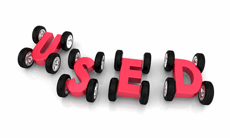 Used Cars Vehicles Sell Pre-Owned Automobiles 3d Illustration Stock Photo