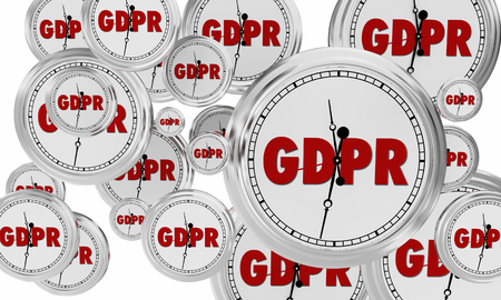 GDPR Clocks Time for Compliance Data Security 3d Illustration