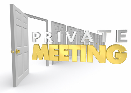 Private Meeting Personal Confidential Office Door Open 3d Illustration Stok Fotoğraf