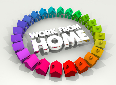 Work from Home Houses Ring Tele Commute 3d Illustration Zdjęcie Seryjne