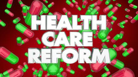 Health Care Reform Medicine Pills Prescription 3d Illustration