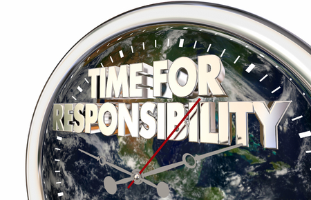 Time For Responsibility Clock Environment Activism 3d Illustration - Elements of this image furnished by NASA Stock Photo