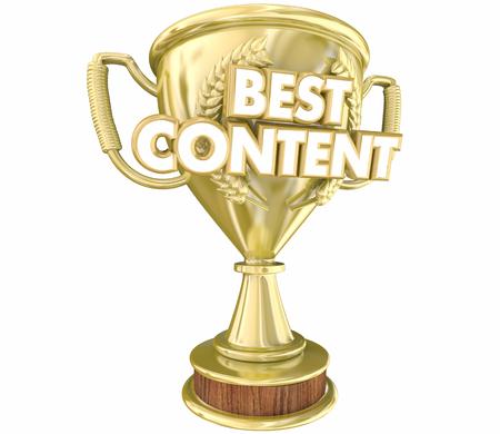 Best Content Trophy Prize Award Top Resource 3d Illustration