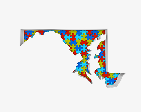 Maryland MD Puzzle Pieces Map Working Together 3d Illustration