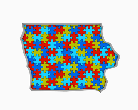 Iowa IA Puzzle Pieces Map Working Together 3d Illustration Banco de Imagens