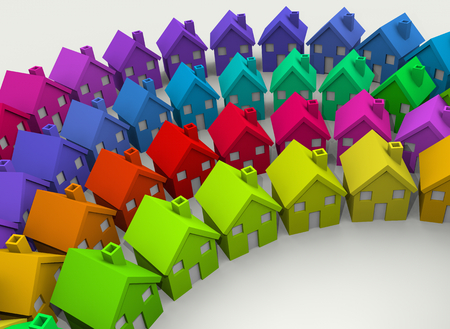 Colorful Houses Homes Neighborhood Community 3d Illustration 版權商用圖片 - 99006701