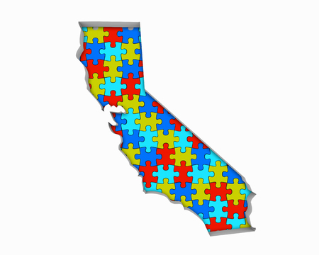 California CA Puzzle Pieces Map Working Together 3d Illustration