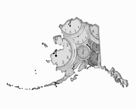 Alaska AK Clock Time Passing Forward Future 3d Illustration Stock Photo