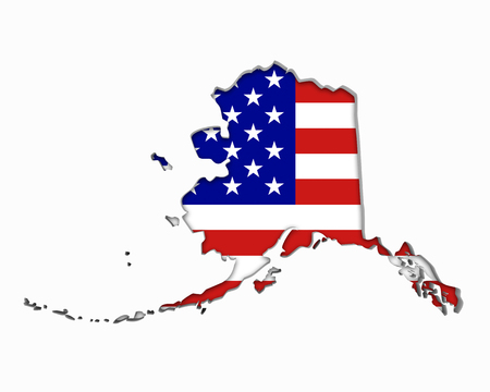 Alaska AK USA Flag Stars Stripes Map 3d Illustration