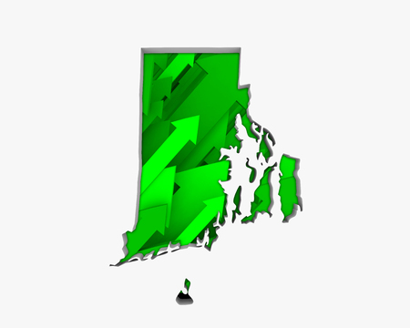Rhode Island RI Arrows Map Growth Increase On Rise 3d Illustration