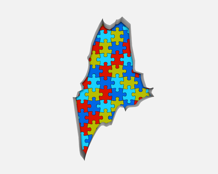 Maine ME Puzzle Pieces Map Working Together 3d Illustration