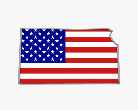 Kansas KS USA Flag Stars Stripes Map 3d Illustration