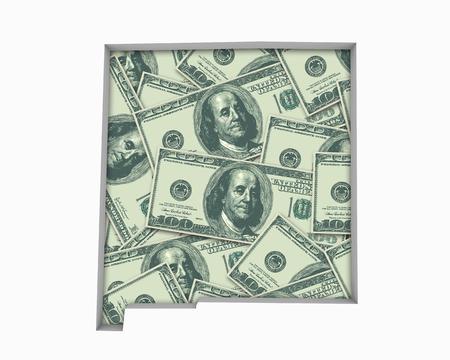 New Mexico NM Money Map Cash Economy Dollars 3d Illustration Reklamní fotografie